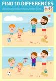 Trovi le differenze, il gioco per i bambini, le differenze del ritrovamento, i giochi del cervello, il gioco dei bambini, il gioc Fotografia Stock
