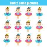 Trovi lo stesso gioco educativo dei bambini delle immagini Trovi le stesse ragazze dell'estate royalty illustrazione gratis