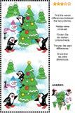 Trovi puzzle delle sette di differenze rappresentazioni di Natale o del nuovo anno Immagini Stock Libere da Diritti