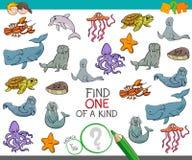 Trovi uno di un gioco gentile con gli animali marini illustrazione di stock