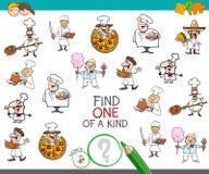 Trovi uno di un gioco gentile con i caratteri del cuoco unico illustrazione vettoriale