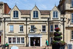 Trowbridge Wiltshire June 28th 2019 Front of the Clarks shoe shop stock images