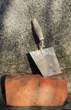 Trowel and brick Royalty Free Stock Photography