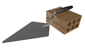 Trowel on a brick. 3D illustration of a trowel placed over a brick Royalty Free Stock Images
