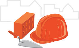 Trowel with brick and safety helmet. Icon for desi stock photography