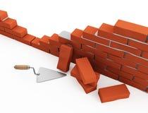 Trowel and bricks Royalty Free Stock Image