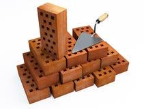 Trowel and bricks Stock Photo