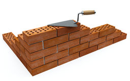 Trowel and bricks Royalty Free Stock Photo