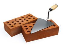 Trowel and bricks Royalty Free Stock Image