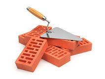 Trowel and bricks. On white background Royalty Free Stock Images