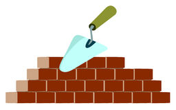 Trowel and bricks on building. In vector royalty free illustration