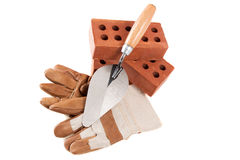 Trowel , Bricks and glove Royalty Free Stock Images