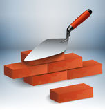 Trowel and bricks illustration. Trowel with a couple of bricks  illustration Royalty Free Stock Photography