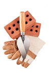 Trowel  Bricks  leather glove. On isolated white Stock Photo
