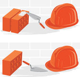 Trowel with bricks and safety helmet. Illustration Stock Images