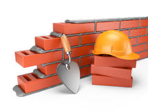 Trowel and bricks wall 3D. Work place.  Royalty Free Stock Photos