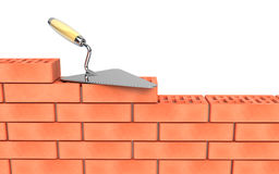 Trowel and bricks wall construction. 3d render Royalty Free Stock Photos