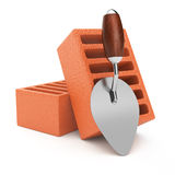 Trowel and bricks Royalty Free Stock Photos