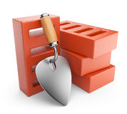 Trowel and bricks. Work tool. 3D icon  Royalty Free Stock Images