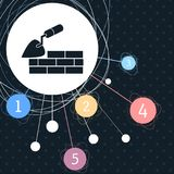 Trowel building and brick wall icon with the background to the point and with infographic style. Illustration Royalty Free Stock Photography