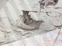 Trowel and cement Royalty Free Stock Images