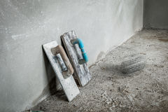 Trowel for concrete wall Stock Images