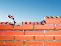 Trowel e parede de tijolos 3D, lugar de trabalho ilustração do vetor