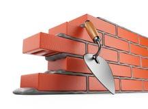 Trowel e parede de tijolos 3D. Lugar de trabalho. Isolado Fotografia de Stock Royalty Free