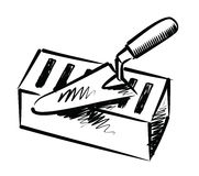 Trowel e tijolo ilustração stock
