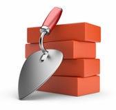 Trowel e tijolos. Lugar de trabalho. ícone 3D   ilustração stock