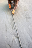 Trowel on fresh concrete Royalty Free Stock Images