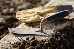 Trowel and protective gloves Royalty Free Stock Photography