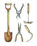 Trowel , shears, hayfork and other paraphernalia necessary for garden improvements. Hand drawn watercolor painting on white background Royalty Free Stock Images