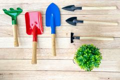 Trowel, shovel garden agriculture tool spoon spade on wooden bac stock photos