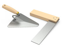 Trowel and square Royalty Free Stock Photos