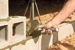 Troweling the Mortar Royalty Free Stock Photography