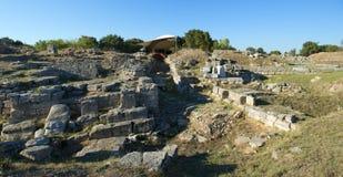 Troy考古学站点在土耳其,古老废墟 免版税库存图片