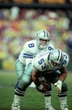 Troy Aikman of the Dallas Cowboys. Troy Aikman calling signals for the play during the game Stock Image