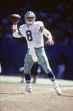 Troy Aikman Quarterback of the Dallas Cowboys. Sitting the pocket getting ready to pass the Football Stock Photos
