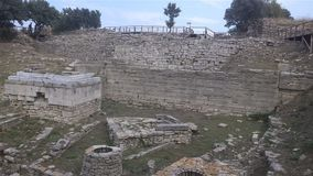 Troy - Ancient Ruins. The walls of the acropolis belong to Troy VII, in Canakkale,Turkey Royalty Free Stock Photography