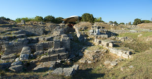 Troy Archeology Site in Turkey, Ancient Ruins. Ancient ruins at the city of Troy, famously known for the Trojan horse and war. The site is near Gallipoli, Turkey Royalty Free Stock Images