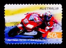 Troy Bayliss, héros australiens de moto Racingserie de Grand prix, vers 2004 Photos libres de droits