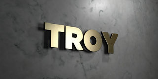 Troy - Gold sign mounted on glossy marble wall  - 3D rendered royalty free stock illustration. This image can be used for an online website banner ad or a Stock Photography