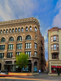 Troy NY USA downtown on a busy Friday night with historic buildings and architecture. Royalty Free Stock Images