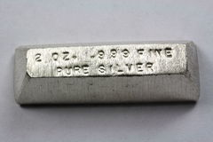 2 Troy Ounce Silver Bullion Bar Stock Photography
