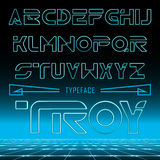 Troy, retro looking font neon effect, typeface with futuristic game background. Modern font , uppercase and lowercase typefase symbols Stock Image