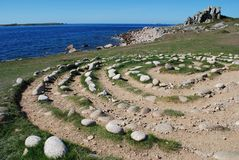Troy Town maze. Ancient stone maze on island of St. Agnes, Scilly Isles, UK Royalty Free Stock Images