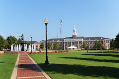 Troy University. Scenic view of Troy university with green lawns in foreground, Alabama, U.S.A Royalty Free Stock Photos