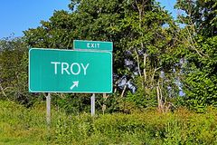 US Highway Exit Sign for Troy. Troy US Style Highway / Motorway Exit Sign Stock Photos