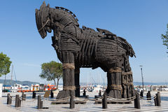 Troy wooden horse at Canakkale, Turkey royalty free stock photos